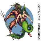 vector illustration of mermaid... | Shutterstock .eps vector #1127762654