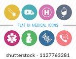 flat ui 8 color medical  ... | Shutterstock .eps vector #1127763281