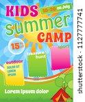 kid summer camp template design ... | Shutterstock .eps vector #1127777741
