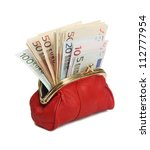 Full Red Wallet On A White...