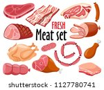 meat icon set vector fresh meat ... | Shutterstock .eps vector #1127780741
