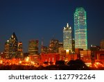 the dallas texas skyline glows... | Shutterstock . vector #1127792264