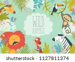 happy jungle animals creating a ... | Shutterstock .eps vector #1127811374