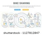 line banner of bike sharing.... | Shutterstock .eps vector #1127812847