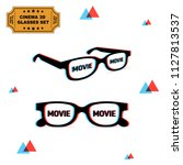 set of two 3d glasses with... | Shutterstock .eps vector #1127813537