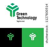logo concept. green human form... | Shutterstock .eps vector #1127830514