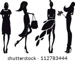 silhouette fashion girls | Shutterstock .eps vector #112783444