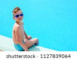 cute little kid boy having fun ... | Shutterstock . vector #1127839064