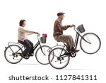 elderly woman and an elderly... | Shutterstock . vector #1127841311