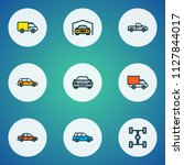 car icons colored line set with ... | Shutterstock .eps vector #1127844017