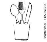 cutlery holder with utensils   Shutterstock .eps vector #1127853911