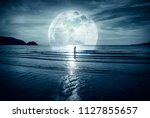 super moon. colorful sky with... | Shutterstock . vector #1127855657