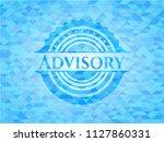 advisory sky blue emblem.... | Shutterstock .eps vector #1127860331