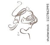 curly hair. linear illustration ... | Shutterstock .eps vector #1127862995