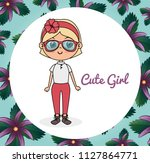 cute girl character with floral ... | Shutterstock .eps vector #1127864771