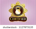 golden emblem with kettlebell... | Shutterstock .eps vector #1127873135