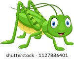 cute grasshopper cartoon... | Shutterstock .eps vector #1127886401