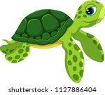 cute sea turtle cartoon...   Shutterstock .eps vector #1127886404