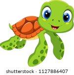Cute Sea Turtle Cartoon...