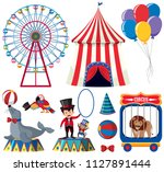 a set of circus animal show... | Shutterstock .eps vector #1127891444
