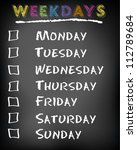 conceptual weekdays list... | Shutterstock .eps vector #112789684