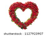 Heart shaped red roses isolated ...