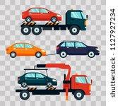 set of cars evacuating broken... | Shutterstock . vector #1127927234