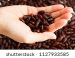 red kidney beans on hand palm | Shutterstock . vector #1127933585