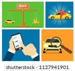 rent a cars and trading cars in ... | Shutterstock . vector #1127941901