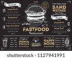 restaurant fast food cafe menu... | Shutterstock . vector #1127941991