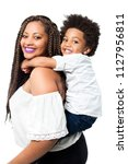happy mom and little boy... | Shutterstock . vector #1127956811
