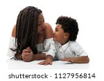 mom and son talking on the floor | Shutterstock . vector #1127956814