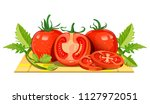 fresh tomatoes from the farm go ... | Shutterstock .eps vector #1127972051