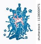 soccer player team composition... | Shutterstock .eps vector #1128000971