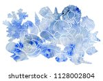 watercolor background with... | Shutterstock . vector #1128002804