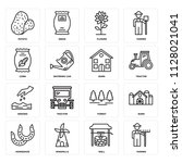 set of 16 icons such as farmer  ... | Shutterstock .eps vector #1128021041