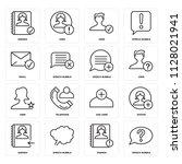 set of 16 icons such as speech...