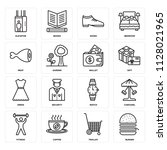 set of 16 icons such as burger  ...