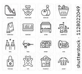 set of 16 icons such as jacket  ... | Shutterstock .eps vector #1128022049