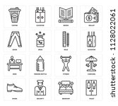 set of 16 icons such as toilet  ...