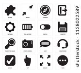 set of 16 icons such as more ...