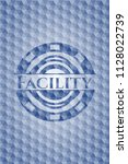 facility blue emblem with...   Shutterstock .eps vector #1128022739