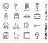 set of 16 icons such as... | Shutterstock .eps vector #1128023249