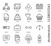 set of 16 icons such as hydrant ... | Shutterstock .eps vector #1128023261