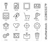 set of 16 icons such as delete  ...