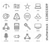 set of 16 icons such as paper...