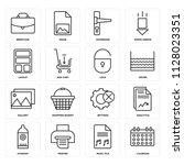 set of 16 icons such as... | Shutterstock .eps vector #1128023351