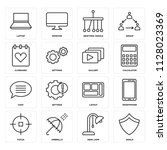 set of 16 icons such as shield  ...
