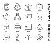 set of 16 icons such as... | Shutterstock .eps vector #1128023495