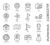 set of 16 icons such as road ...